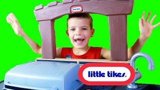 BABY Cooking! Little Tikes COOK N PLAY Outdoor BBQ Grill TOBY teaches Eli to bake cookies hamburgers