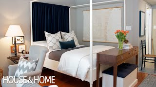 Interior Design — Tips & Tricks For Decorating A Small Studio Apartment(Where there aren't rooms, fake them! On http://houseandhome.com/tv, Joel Bray proves that a small bachelor apartment can be divided up into functional ..., 2012-05-14T20:16:21.000Z)