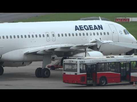 SX-DGW Aegean Airbus A320 parking at Hamburg Airport