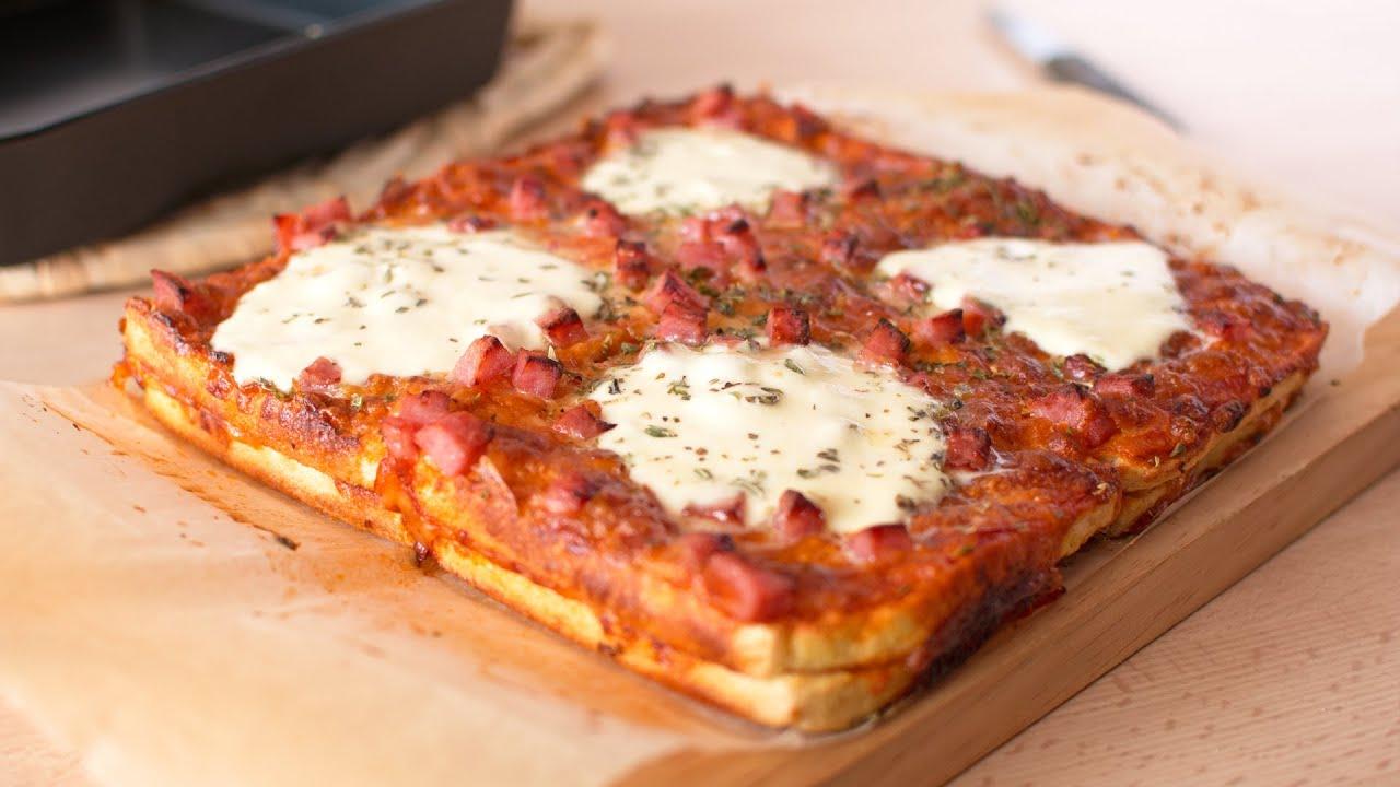 Ham & Cheese Bread Pizza - White Bread Pizza Cake Recipe