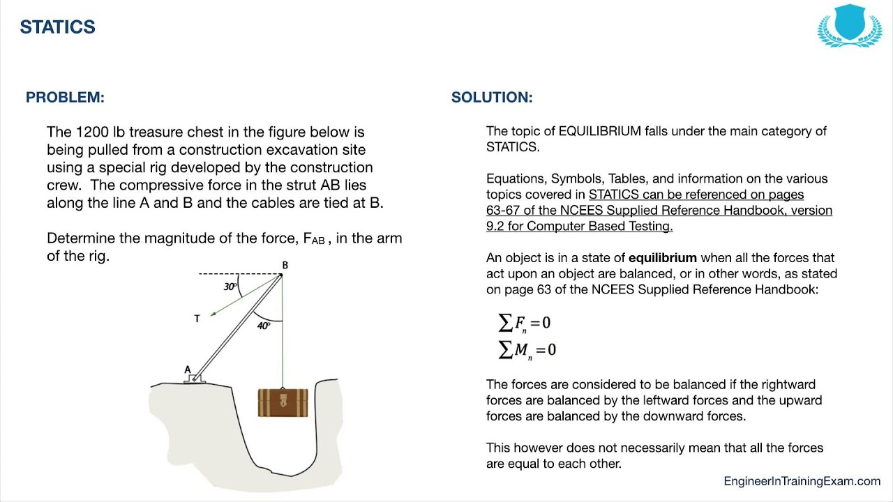 FE Exam Practice Problem - Statics - YouTube