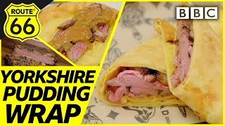 Americans try Yorkshire pudding beef wrap | Hairy Riders: Route 66 - BBC