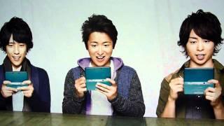 Nintendo3DSのイベント会場での「嵐」メンバーの展示幕.