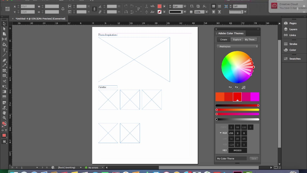 Color Palette Exercise In Adobe Indesign Youtube