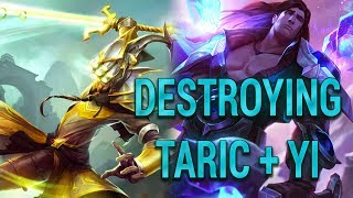 DESTROYING THE TARIC + MASTER YI GOLD FUNNELING STRATEGY WITH AD SHACO IN THE JUNGLE