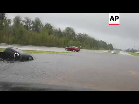 Cars Stranded In Floodwaters In Jacksonville, North Carolina