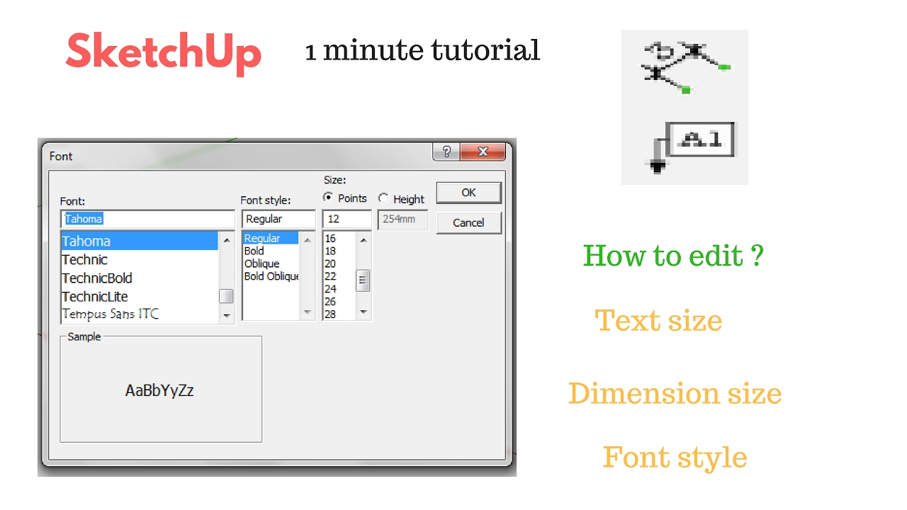 SketchUp How To Change Text, Dimension, Font Size ? (1 ...