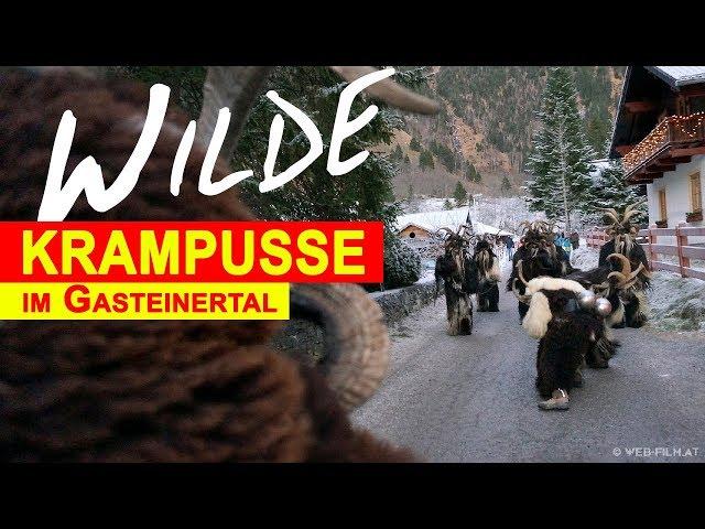 Krampuslauf in Gastein - Salzburg, Perchtenlauf mit Krampus Attacke