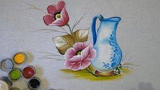 Aprenda a Pintar Jarra e Flores Papolas