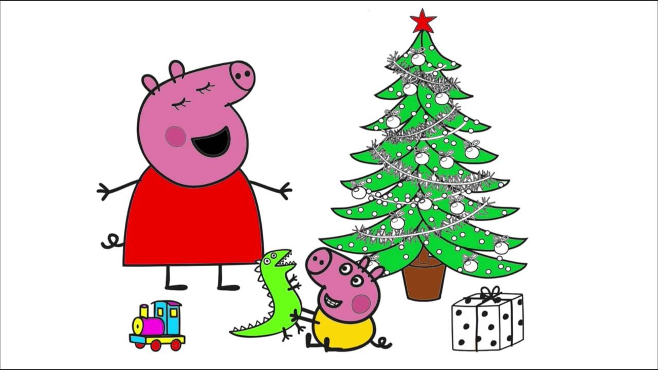 Peppa Pig And Christmas tree ☆ Coloring Pages - YouTube