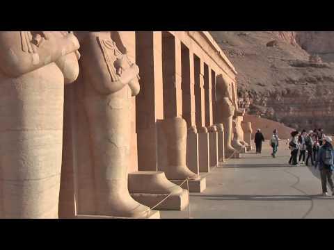 Mortuary Temple of Hatshepsut is located beneath the cliffs at Deir el Bahari