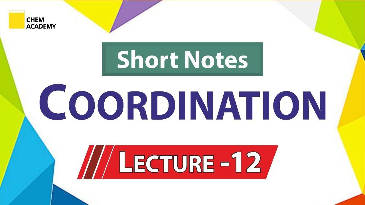 Coordination Chemistry   Short Notes   Inorganic Chemistry   Chem Academy