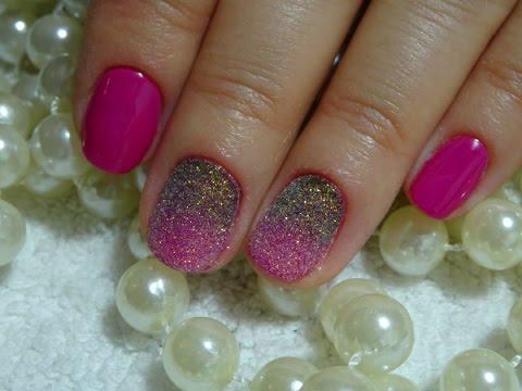 Шеллак с блестками на короткие ногти