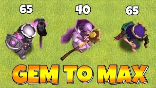 """NEW LEVELs!! MAX HERO lvl 65!! """"clash of clans"""" Gem to MAx!!"""