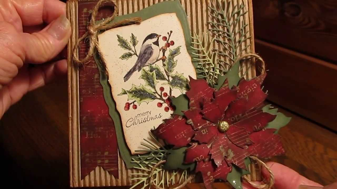 CHRISTMAS CARD USING TIM HOLTZ TATTERED POINSETTIA DIE