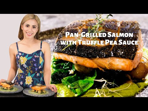 Pan-Grilled Salmon with Truffle Pea Sauce