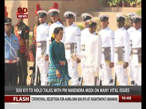 Aung San Suu Kyi received a ceremonial welcome at the Rashtrapati Bhavan