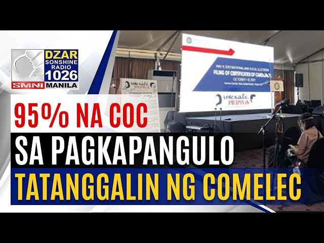 #SonshineNewsblast: 95% na kumakandidato sa pagkapangulo, tatanggalin ng COMELEC