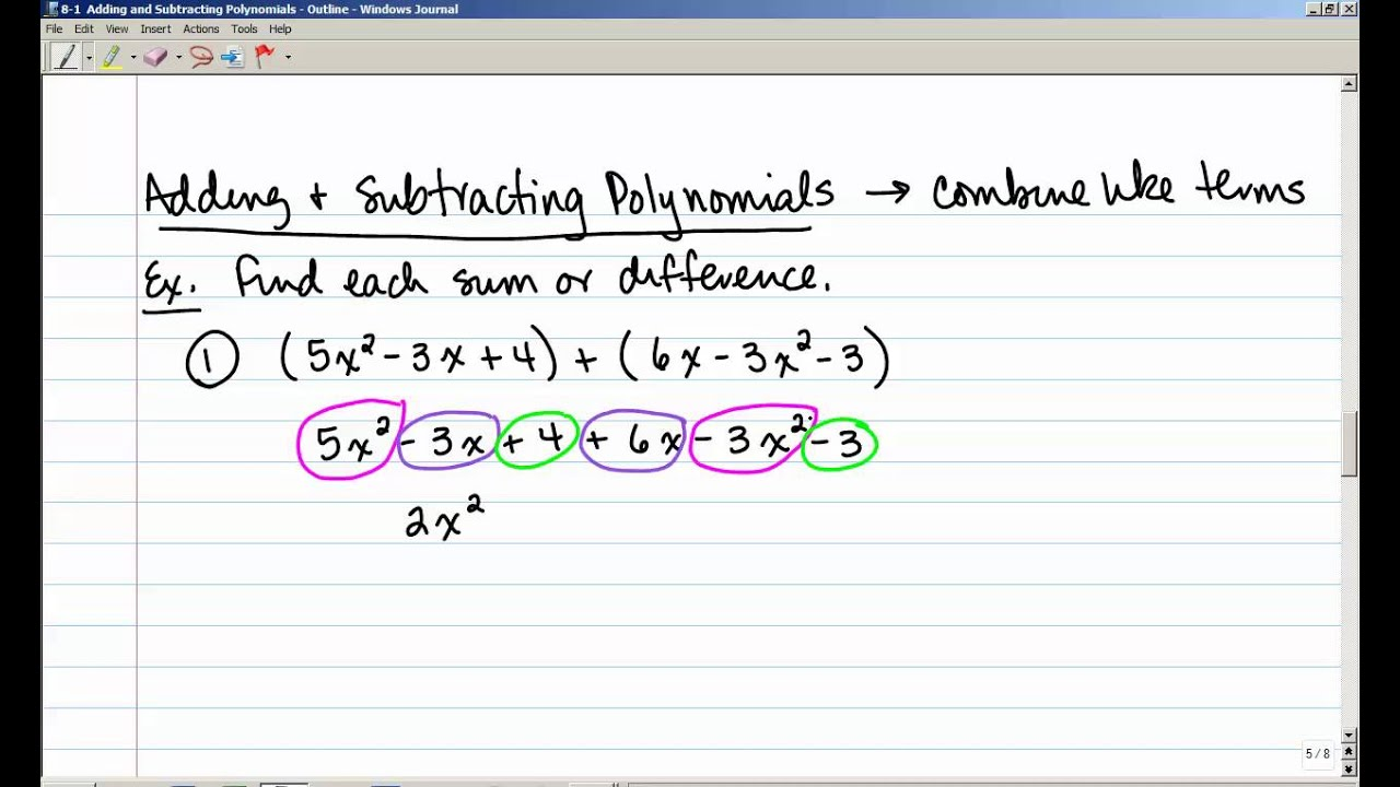 8-1 Adding and Subtracting Polynomials - YouTube