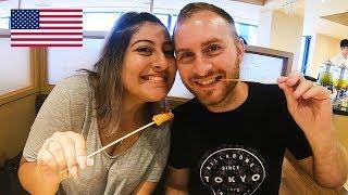 結婚記念日に来日!初串揚げ、アメリカ人夫婦がエンジョイ / American couple enjoy fried skewers