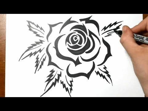 Thumbnail: How to Draw a Tribal Rose Tattoo Design