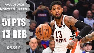 Paul George, Montrezl Harrell combine for 51 in Clippers vs. Trail Blazers | 2019-20 NBA Highlights
