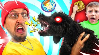 MY PUPPY, HE CRAZY!  The JAWS DOG + Square Donuts (FV Family Vlog)