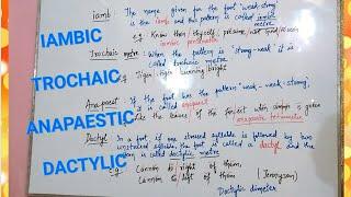 Metre in Poetry | Iambic pentameter | TROCHAIC |ANAPAESTIC | DACTYLIC