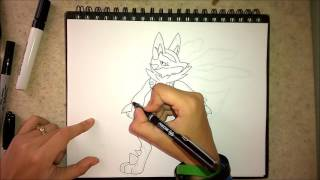 How to draw Mega Lucario