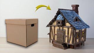 DIY I How To Make a Miniature House Using Cardboard I Medieval House