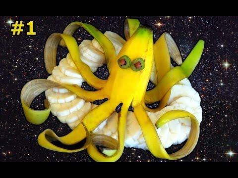 Нарезка банана в виде дельфина. Украшение праздничного стола. Как нарезать фрукты. Карвинг