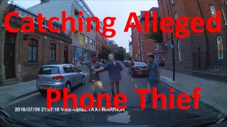 Men Chasing Alleged Mobile Phone Thief in Shoreditch, London