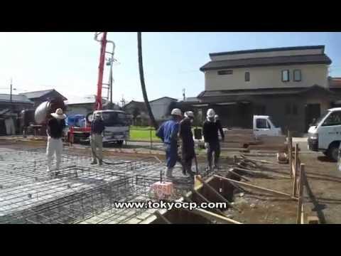Работа японского роторного бетононасоса (автобетононасоса), стрела 16 метров