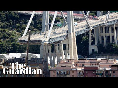 Genoa motorway bridge collapse caught on camera