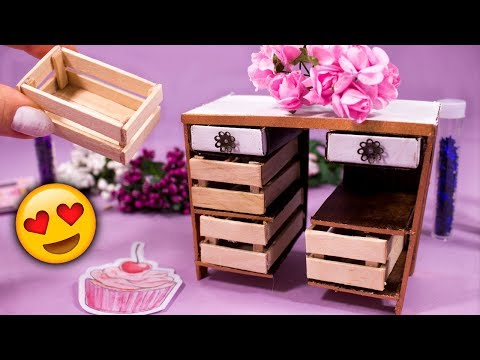 DIY Miniature Table with Wooden Drawers  😙 Matchbox Craft