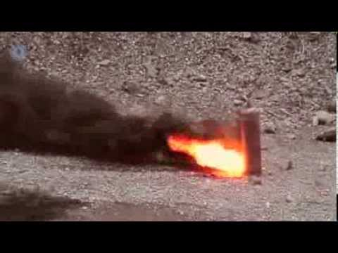 Vulcan shaped charge (20g) + magnesium EFP + trepanning attachment against a gas cylinder