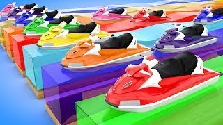 Colors Race Sports Cars Learn Colors Jumping Cartoon ATV and Boats Nursery Rhymes Kids