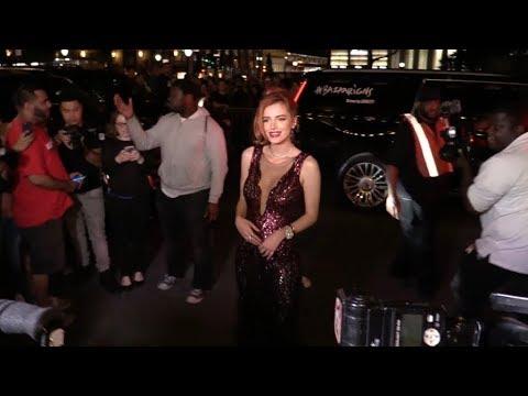 Anwar Hadid, Nicola Peltz and Bella Thorne arriving at the Harper s Bazaar  party
