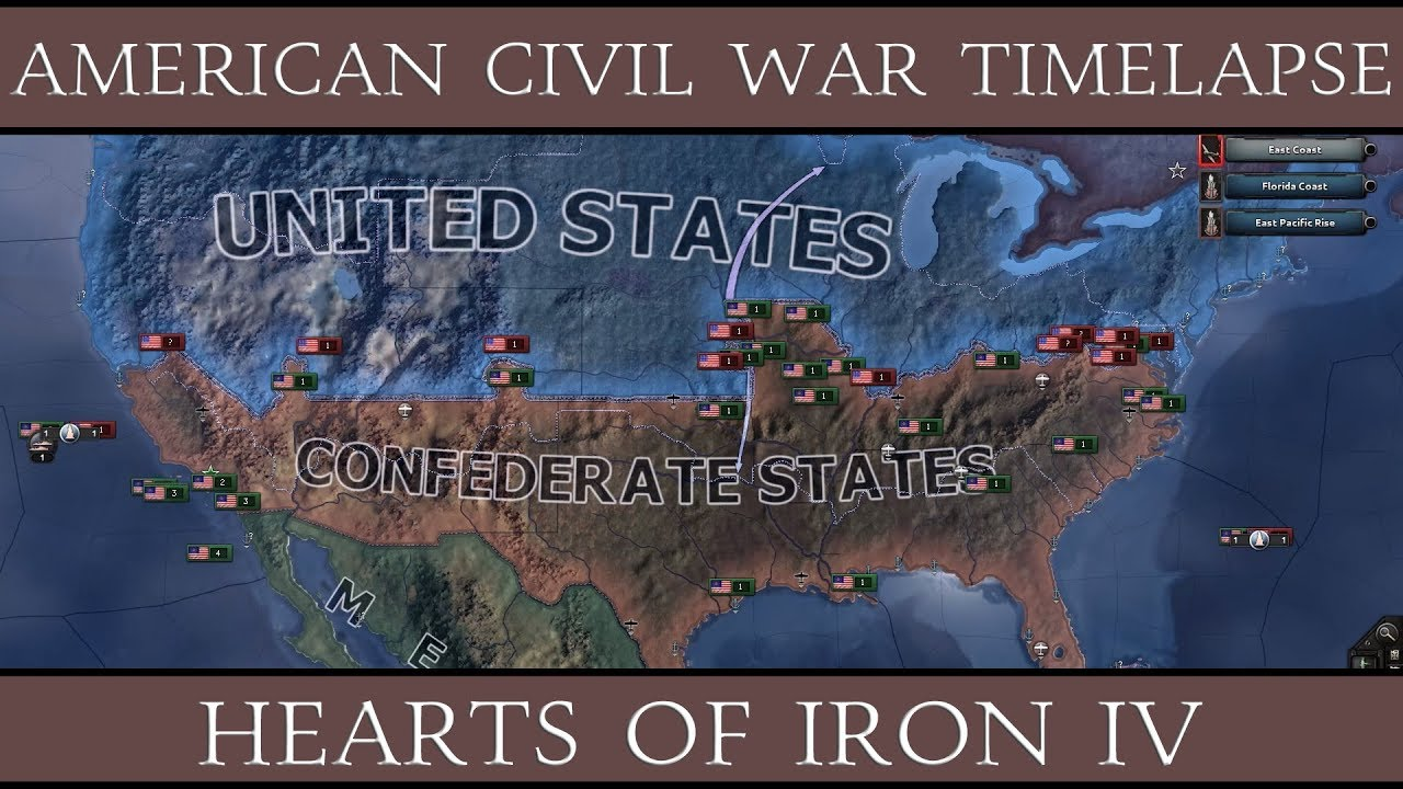 Hearts Of Iron American Civil War Timelapse YouTube - The confederate states us territories and united states map