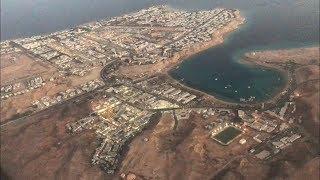 Красивая посадка самолета в Шарм Эль Шейхе вид на отели