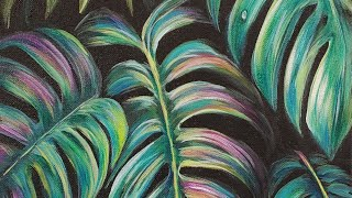 Monstera Tropical Palm Leaves Acrylic Painting LIVE Tutorial