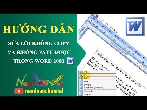 Sửa Lỗi Không Copy Và Pate được Trong Word 2003 | Namloan ✅