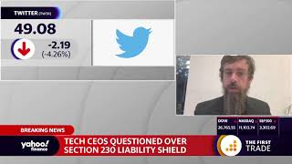 Twitter ceo jack dorsey discusses the importance of section 230 at big tech hearing on capitol hill which also included facebook mark zuckerberg and ...