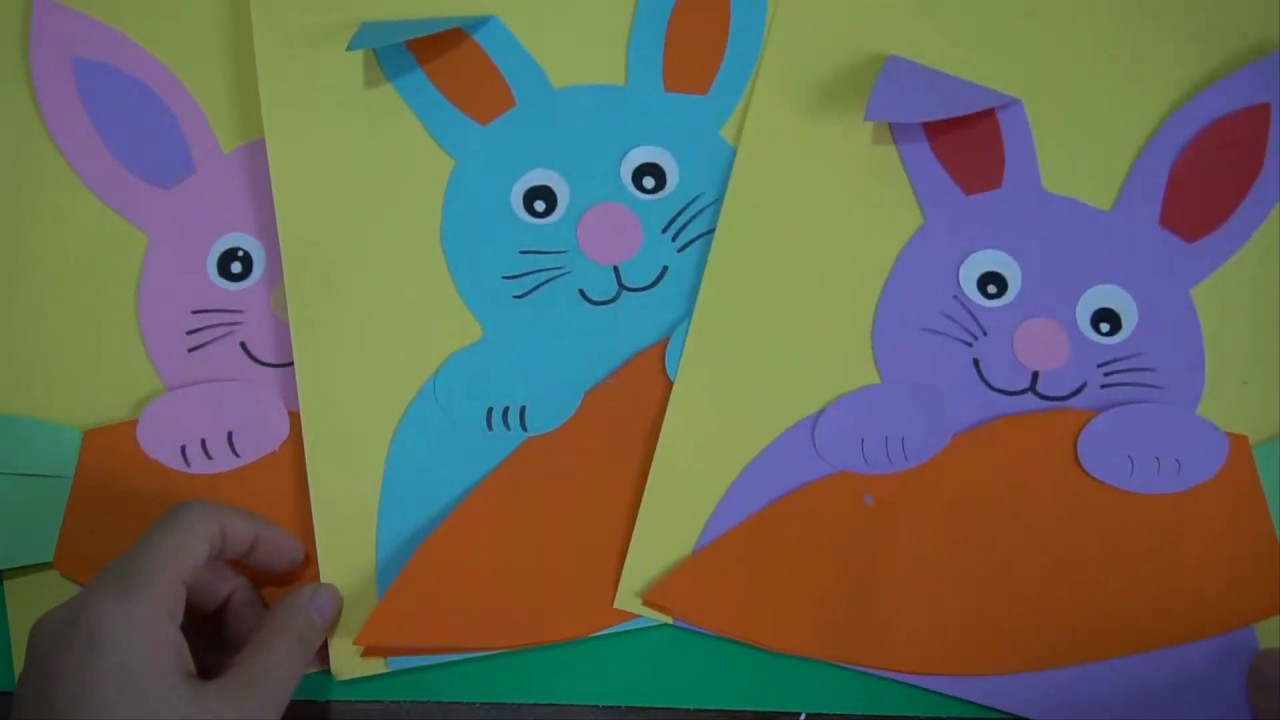 Instructions On How To Fold A Carrot Nibbling Easter Bunny With Simple Paper