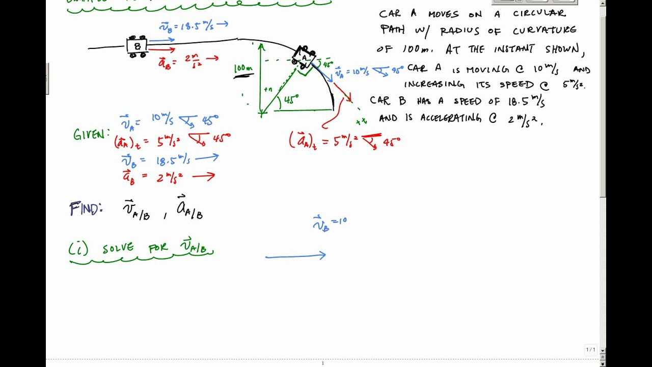 Relative Velocity And Acceleration Example Part 1