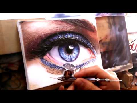 How to paint a Realistic Eye /How to airbrush Airbrush a Realistic Art