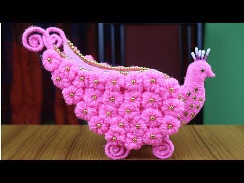 Home Decor DIY - Peacock Design Flower Vase || Woolen Craft Idea - Best reuse ideas - Woolen Design