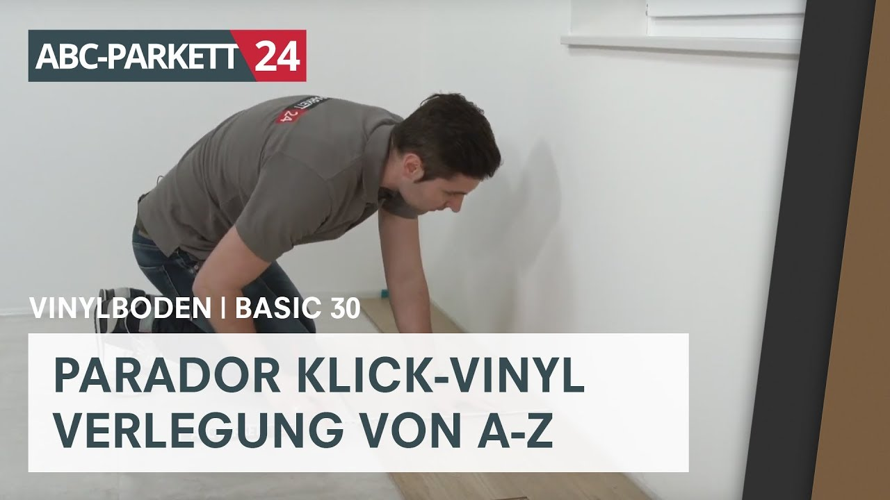 parador klick vinyl basic 30 auf hdf tr ger richtig verlegen youtube. Black Bedroom Furniture Sets. Home Design Ideas
