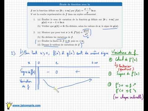 Etude complète d'une fonction logarithme - Dérivation Tableau de variations Limite - Bac ...