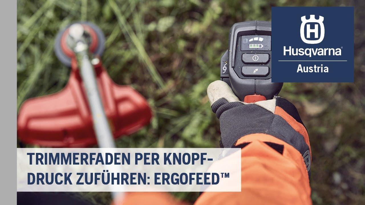 Trimmerfaden per Knopfdruck zuführen: ErgoFeed | Husqvarna Grünflächen